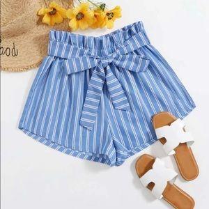 Striped Print Shorts with Waist Belt